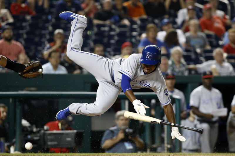 Kansas City Royals' Terrance Gore falls after being hit by a pitch in the 11th inning of the team's baseball game against the Washington Nationals, Friday, July 5, 2019, in Washington. Kansas City won 7-4. (AP Photo/Patrick Semansky)