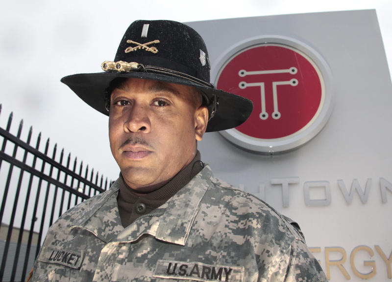 Michigan National Guard 1st Lt. Demetries Luckett, of Harper Woods, is seen outside of Tech Town in Detroit, Tuesday, Nov. 22, 2011.  Two months ago, Luckett left his job in Michigan, turned in his cable box, sent his daughter to live with her mother, and headed for Camp Shelby in Mississippi. As a 1st lieutenant in Michigan's National Guard, he was being deployed to Afghanistan. But just a month after he arrived for training, the Army decided Uncle Sam didn't need him after all. Now Luckett's unemployed and back home in Harper Woods, Mich. _ a victim of the Obama administration's ongoing effort to pull at least 33,000 U.S. troops out of Afghanistan by next fall. (AP Photo/Jerry S. Mendoza)