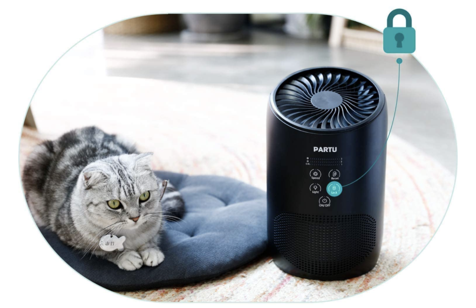 Even curious cats can't mess with this air purifier. (Photo: Amazon)