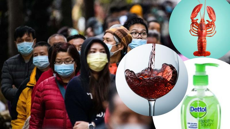 Pictured: People wearing coronavirus face masks in Hong Kong, dettol hand sanitiser, lobster and red wine.