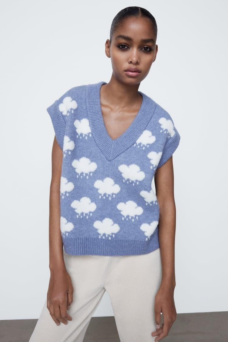 <p>Layer this <span>Jacquard Knit Vest</span> ($40) over a classic white button-down shirt.</p>