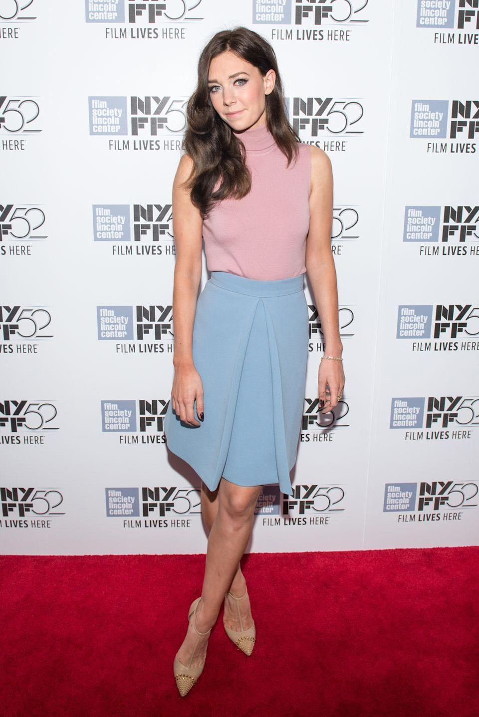 <p>Wearing pastels to the <em>Queen and Country</em> premier at the New York Film Festival.</p>