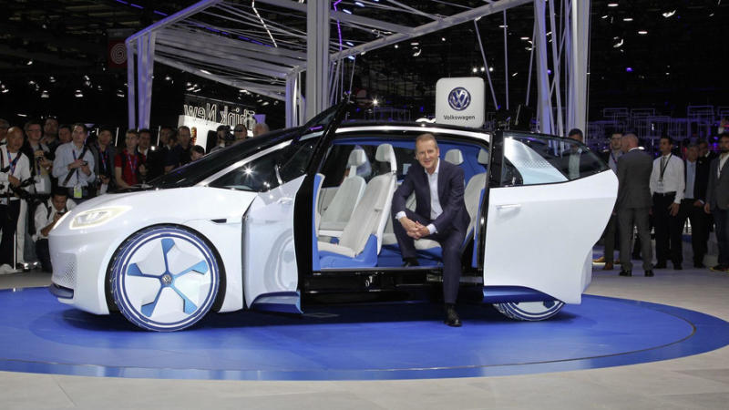 Volkswagen CEO Herbert Diess at the I.D. concept premiere in Paris.