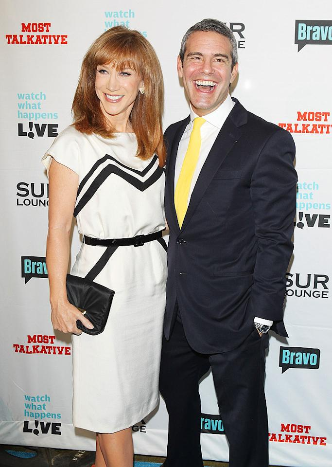 Bravo Executive VP Andy Cohen arrived at his book release party with one of his network's biggest stars, Kathy Griffin. <em>Most Talkative: Stories From The Front Lines Of Pop Culture</em> is about the adventures of Cohen's 20-year career in TV. (5/14/2012)