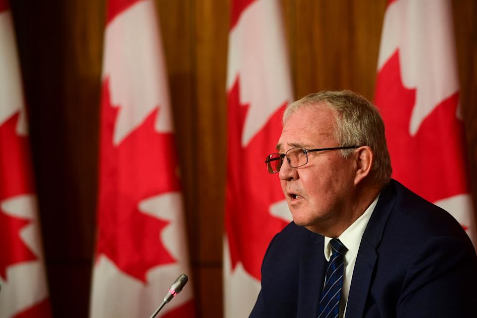 Public Safety Minister Bill Blair takes part in a press conference in Ottawa on Oct. 19, 2020.                                                                                                                                                                                    (Photo: Sean Kilpatrick/CP)