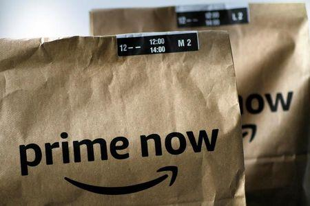 FILE PHOTO:  Illustration photo of an Amazon Prime Now delivery