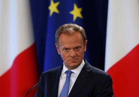President of the European Council Tusk takes part in a joint news conference about Brexit with Malta's Prime Minister Muscat in Valletta