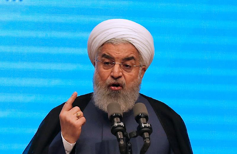 Iranian President Hassan Rouhani gives a speech in the northwestern city of Tabriz on April 25, 2018 (AFP Photo/ATTA KENARE)