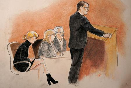Taylor Swift, mother Andrea and attorney Jesse Schaudies (at table) listen to closing arguments in Denver Federal Court where the Taylor Swift groping trial goes on in Denver