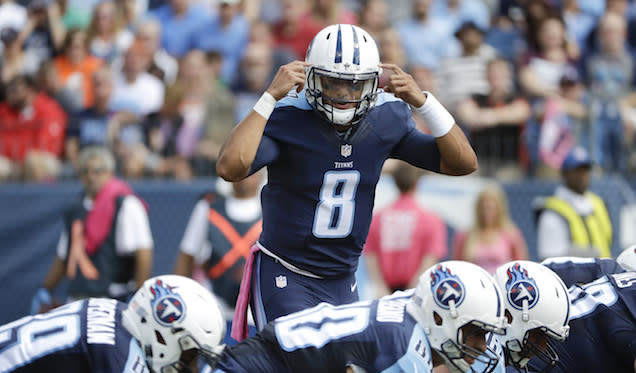 "Aiming for <a class=""link rapid-noclick-resp"" href=""/nfl/players/28390/"" data-ylk=""slk:Marcus Mariota"">Marcus Mariota</a> in the middle rounds is a heady move. (AP)"