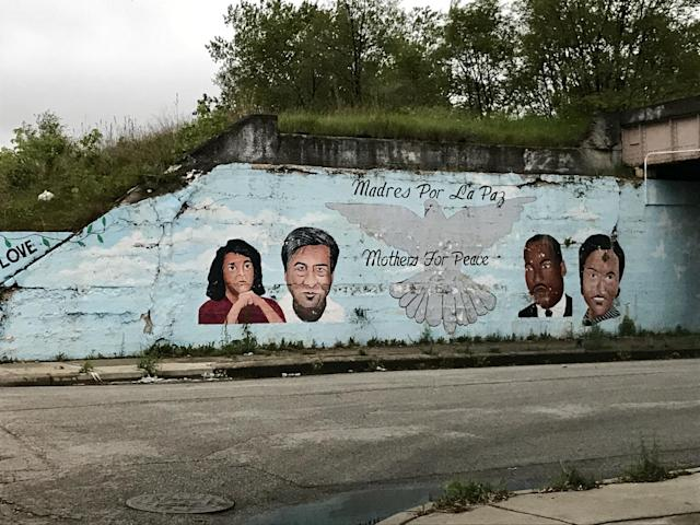 One of many murals under the railroad viaducts along Throop Street in Chicago's Back of the Yards neighborhood. (Photo: Caitlin Dickson/Yahoo News)