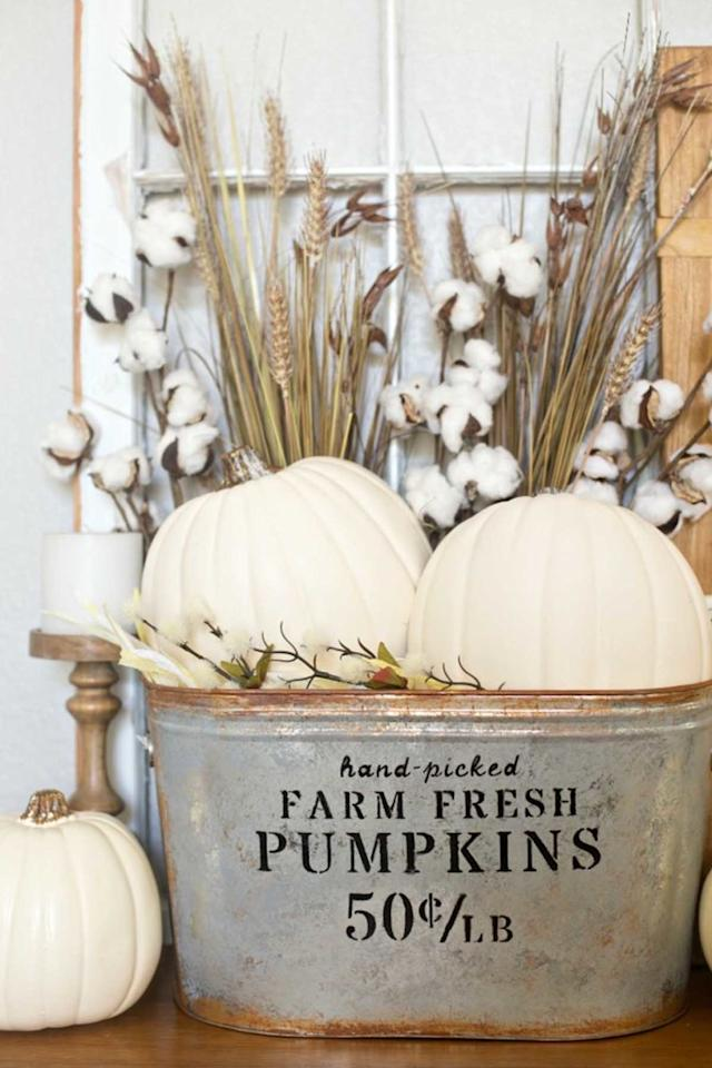 """<p>Add some farmhouse flair to your home with this rustic bucket arrangement. </p><p><strong>Get the tutorial at <a rel=""""nofollow"""" href=""""http://www.anightowlblog.com/2016/09/diy-farmhouse-pumpkin-bucket.html/"""">A Night Owl</a>. </strong><span></span></p><p><strong>What you'll need: </strong><span><em>Galvanized bucket ($26; <a rel=""""nofollow"""" href=""""https://www.amazon.com/Behrens-3-OV-16-Gallon-Oval-Steel/dp/B002YJJJQ6?tag=syndication-20"""">amazon.com</a>); Rust spray paint ($6; <a rel=""""nofollow"""" href=""""https://www.amazon.com/Rust-Oleum-223525-Multi-Color-Textured-12-Ounce/dp/B000N3C6EM?tag=syndication-20"""">amazon.com</a>); Dark gray paint ($6, <a rel=""""nofollow"""" href=""""https://www.amazon.com/Vallejo-Acrylic-Paint-Dark-Grey/dp/B000PH7OY8?tag=syndication-20"""">amazon.com</a>)</em></span><br></p>"""