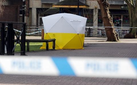 A police tent covers the spot where Sergei Skripal and his daughter collapsed in Salisbury - Credit: Frank Augstein/AP