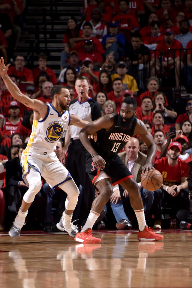 HOUSTON, TX - MAY 16: James Harden #13 of the Houston Rockets handles the ball against the Golden State Warriors in Game Two of the Western Conference Finals of the 2018 NBA Playoffs on May 16, 2018 at the Toyota Center in Houston, Texas. (Photo by Bill Baptist/NBAE via Getty Images)