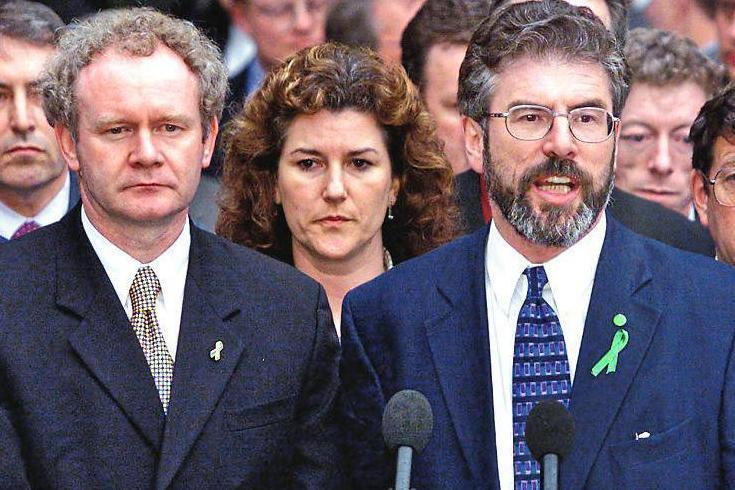 No more gun law: Martin McGuinness and Gerry Adams at Stormont in July 1999
