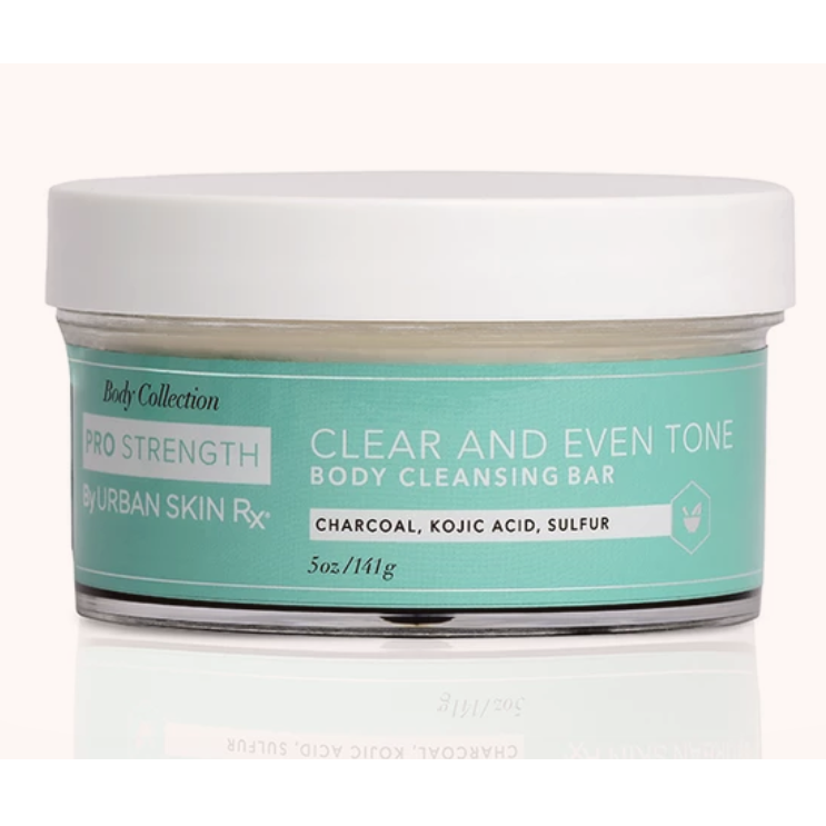 "<p>""This stuff is like a combination of its Best of Beauty-winning combination skin cleansing and my personal favorite clear skin bar. I sometimes get breakouts on my back, and this just sucks up all the oil that may be brewing and keeps any existing pimples from getting gnarly."" — <em>Jihan Forbes, digital hair editor</em></p> <p><strong>$32</strong> (<a href=""https://urbanskinrx.com/products/clear-and-even-tone-body-cleansing-bar-5-oz"" rel=""nofollow"">Shop Now</a>)</p>"