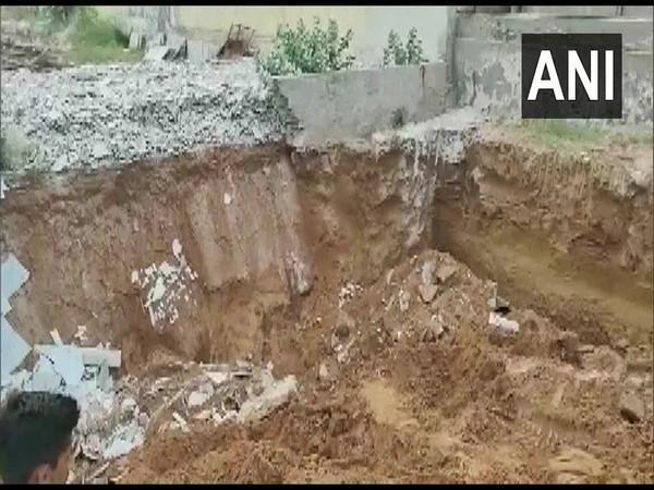 A visual from the construction site in Jalore where five were killed after a mound of soil collapsed on Friday. [Photo/ANI]