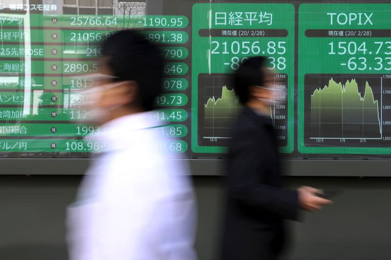 People wearing protective face masks, following an outbreak of the coronavirus, walk past a screen showing Nikkei index, outside a brokerage in Tokyo