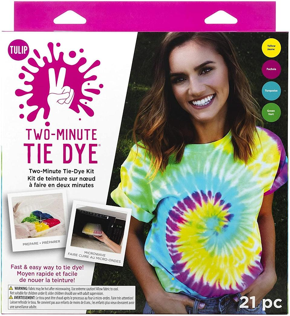 """<p>This <a href=""""https://www.popsugar.com/buy/Tulip-One-Step-Tie-Dye-Kit-586138?p_name=Tulip%20One-Step%20Tie-Dye%20Kit&retailer=amazon.com&pid=586138&price=13&evar1=savvy%3Auk&evar9=47587084&evar98=https%3A%2F%2Fwww.popsugar.com%2Fsmart-living%2Fphoto-gallery%2F47587084%2Fimage%2F47587088%2FTulip-One-Step-Tie-Dye-Kit&list1=shopping%2Camazon%2Csummer%2Ctie%20dye%2Cstaying%20home&prop13=api&pdata=1"""" class=""""link rapid-noclick-resp"""" rel=""""nofollow noopener"""" target=""""_blank"""" data-ylk=""""slk:Tulip One-Step Tie-Dye Kit"""">Tulip One-Step Tie-Dye Kit</a> ($13) couldn't be easier to use; it tie-dyes in just two minutes.</p>"""
