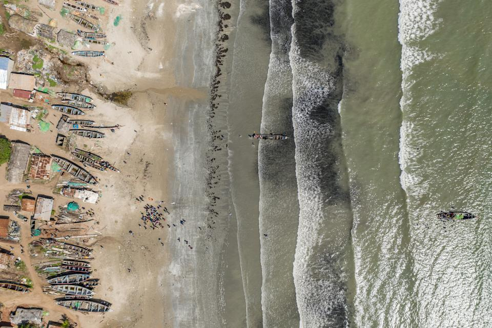 An aerial shot of the Gambian coastline. (Fábio Nascimento / The Outlaw Ocean Project)
