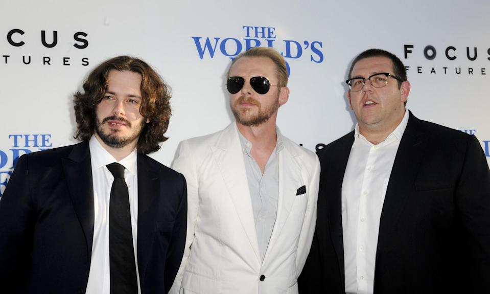 Edgar Wright (left) with Simon Pegg and Nick Frost at the LA premiere of 2013's 'The World's End' (credit: WENN)