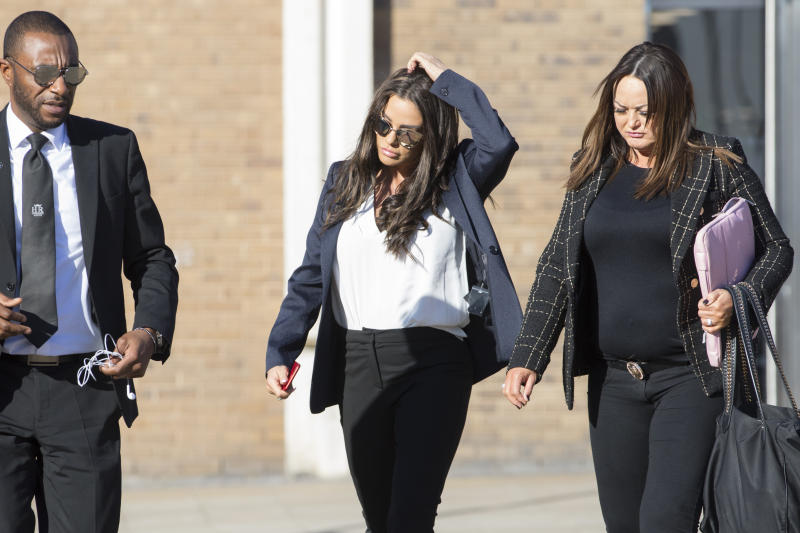Katie Price arrives at Bexley Magistrates' Court for her drink driving court case. (Photo by Rick Findler/PA Images via Getty Images)