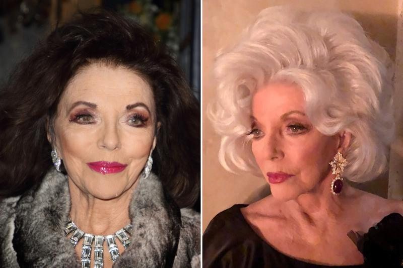 Perhaps regretting killing off her original character too early, Ryan Murphy brought Joan Collins back for a second character later in the season and fitted the famous brunette with a white wig. Photos courtesy of Getty Images and IMDB.