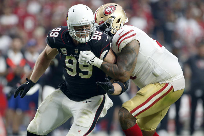 Arizona Cardinals defensive end J.J. Watt (99) battles San Francisco 49ers offensive tackle Trent Williams during the second half of an NFL football game, Sunday, Oct. 10, 2021, in Glendale, Ariz. (AP Photo/Ralph Freso)