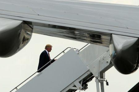 U.S. President Trump boards Air Force One to return to Washington from West Palm Beach