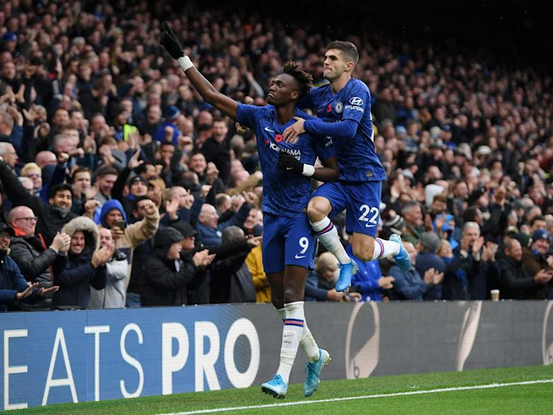 Tammy Abraham of Chelsea celebrates after scoring: Getty Images