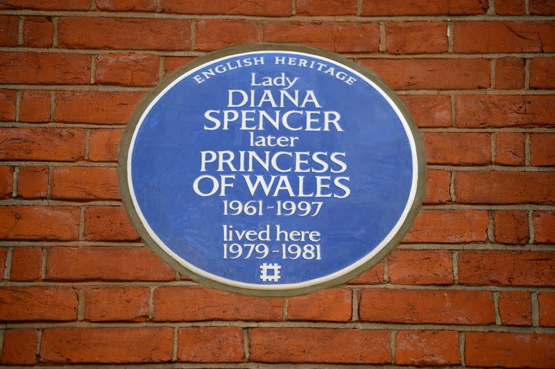 English Heritage's Blue Plaque to Diana, Princess of Wales marking the flat where she lived at the time of her engagement to the Prince of Wales is pictured in London