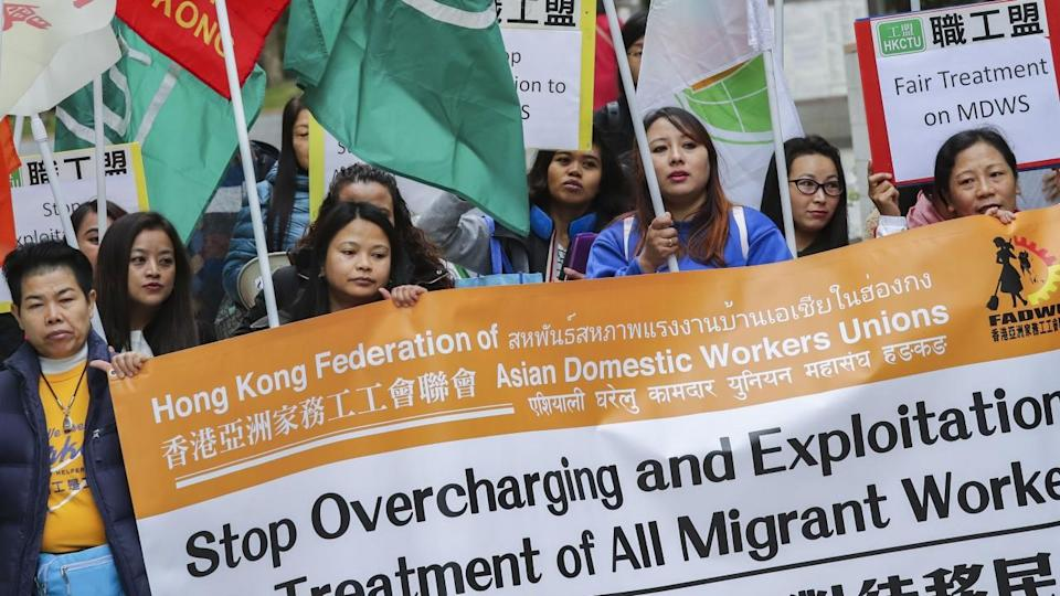 Hong Kong domestic helpers march to demand stronger legal protection against abuse