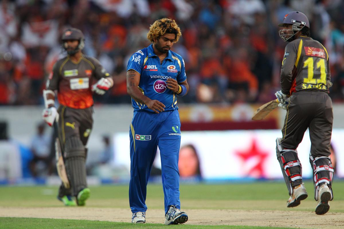 Lasith Malinga during match 43 of the Pepsi Indian Premier League between The Sunrisers Hyderabad and Mumbai Indians held at the Rajiv Gandhi International  Stadium, Hyderabad  on the 1st May 2013..Photo by Ron Gaunt-IPL-SPORTZPICS ..Use of this image is subject to the terms and conditions as outlined by the BCCI. These terms can be found by following this link:..https://ec.yimg.com/ec?url=http%3a%2f%2fwww.sportzpics.co.za%2fimage%2fI0000SoRagM2cIEc&t=1500735395&sig=UwP7Lc_dhc_aUEwUG5eA3w--~C