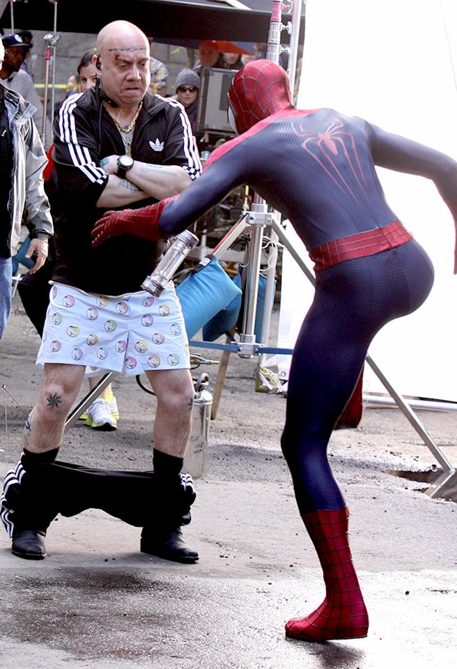 "Now this looks like an interesting scene. Andrew Garfield -- dressed in his Spider-Man costume -- managed to knock the pants off a character, Rhino, played by Paul Giamatti as the two shot ""The Amazing Spider-Man 2"" in Brooklyn on Monday. If you look closely, you can spot rhinos on his boxer shorts. (5/13/2013) <br /><br />"