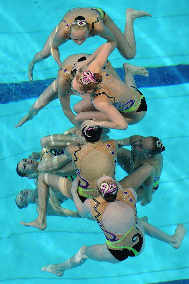 Team Ukraine performs in the final of the Synchronised Swimming Team event at the European Championships Diving and Synchronized Swimming at Pieter van den Hoogenband stadium in Eindhoven, south central Netherlands, Saturday May 26, 2012. (AP Photo/Ermino Armino)