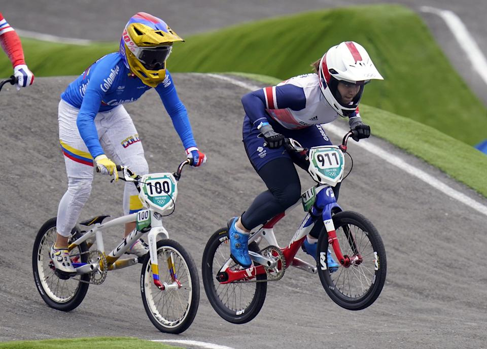Great Britain's Bethany Shriever on her way to winning gold in the Cycling BMX Racing at the Ariake Urban Sports Park. (PA Wire)