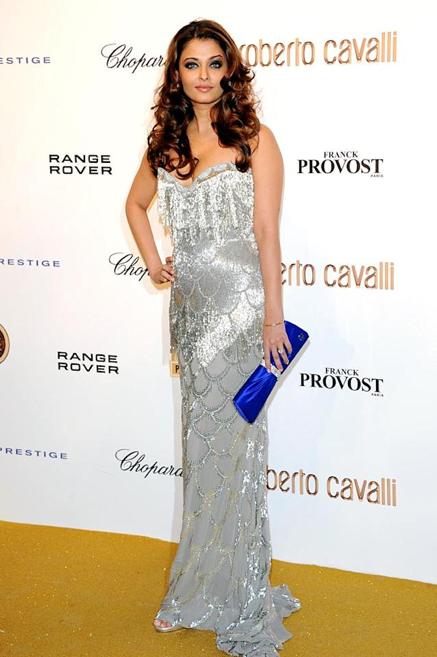 "Following in Rachel's footsteps ... the equally elegant Aishwarya Rai, who oozed glamour in a sparkling Cavalli gown and an exquisitely curled chestnut-colored coif. Venturelli/<a href=""http://www.wireimage.com"" target=""new"">WireImage.com</a> - September 29, 2010"