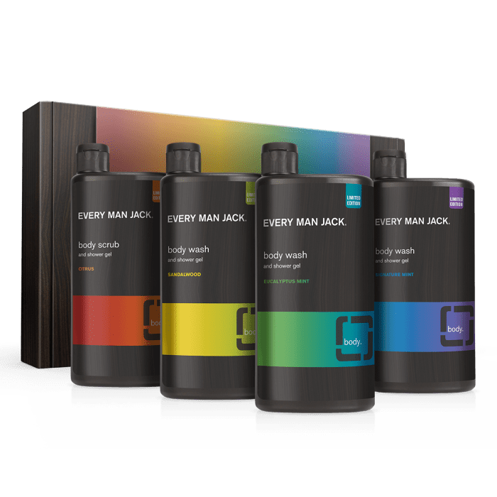 <p>The <span>Every Man Jack Limited Edition Pride Pack</span> ($25) comes in the bestselling fragrances, citrus scrub, sandalwood, eucalyptus mint, and signature mint. 25 percent of the proceeds will be donated to Rainbow Railroad, an organization that helps LGBTQIA+ individuals escape persecution in 3rd world countries. </p>