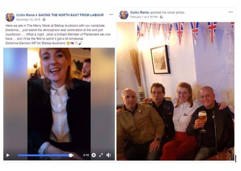 <strong>Left, a post Colin Raine made of Davison on election night and, right, Raine posing with Davison at a Brexit party in Bishop Auckland</strong> (Photo: Facebook)