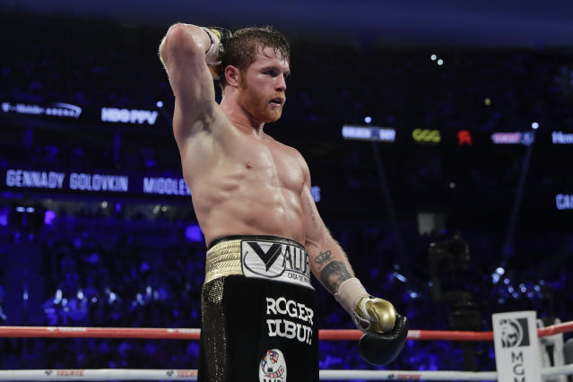 Canelo Alvarez reacts after a middleweight title boxing match against Gennady Golovkin, Saturday, Sept. 15, 2018, in Las Vegas. (AP Photo/Isaac Brekken)