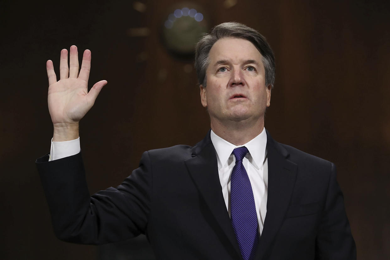 Judge Brett Kavanaugh is sworn in before testifying to the Senate Judiciary Committee during his Supreme Court confirmation hearings in September. (Photo: Win McNamee/Getty Images)