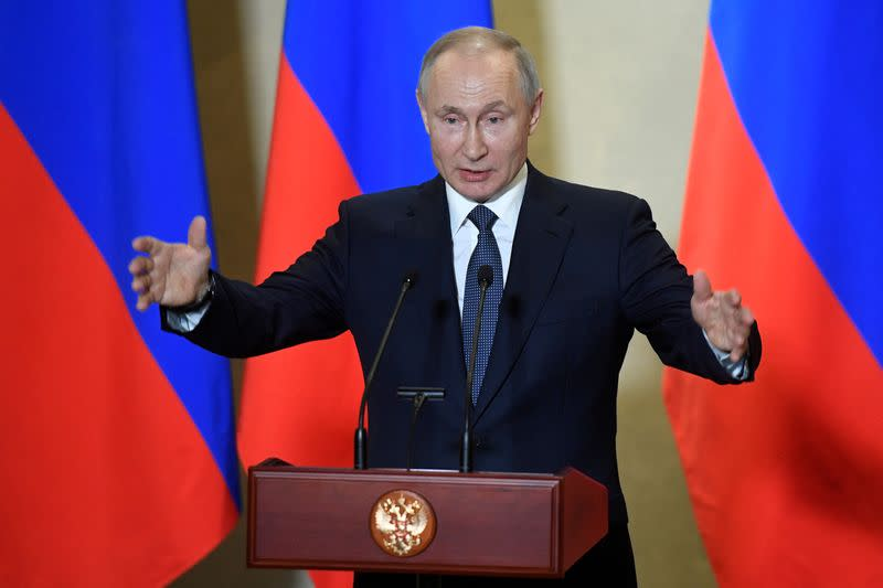FILE PHOTO: Russian President Vladimir Putin attends an awarding ceremony in Sevastopol