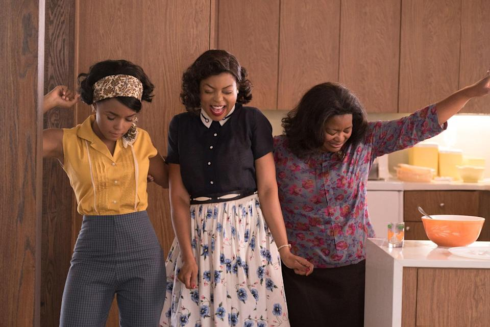 """<p>Janelle Monae, Taraji P. Henson, and Octavia Spencer are perfection in this 2017 film about the Black women behind NASA's early launches. The movie was nominated for three Oscars and two Golden Globes!</p> <p><a href=""""https://www.disneyplus.com/movies/hidden-figures/2xa2YdiOJXQt"""" class=""""link rapid-noclick-resp"""" rel=""""nofollow noopener"""" target=""""_blank"""" data-ylk=""""slk:Watch Hidden Figures on Disney+."""">Watch <b>Hidden Figures</b> on Disney+.</a></p>"""