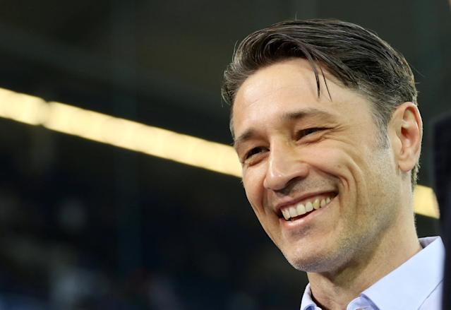 Soccer Football -DFB Cup - Schalke 04 vs Eintracht Frankfurt - Veltins-Arena, Gelsenkirchen, Germany - April 18, 2018 Eintracht Frankfurt coach Niko Kovac before the match REUTERS/Leon Kuegeler DFB RULES PROHIBIT USE IN MMS SERVICES VIA HANDHELD DEVICES UNTIL TWO HOURS AFTER A MATCH AND ANY USAGE ON INTERNET OR ONLINE MEDIA SIMULATING VIDEO FOOTAGE DURING THE MATCH.