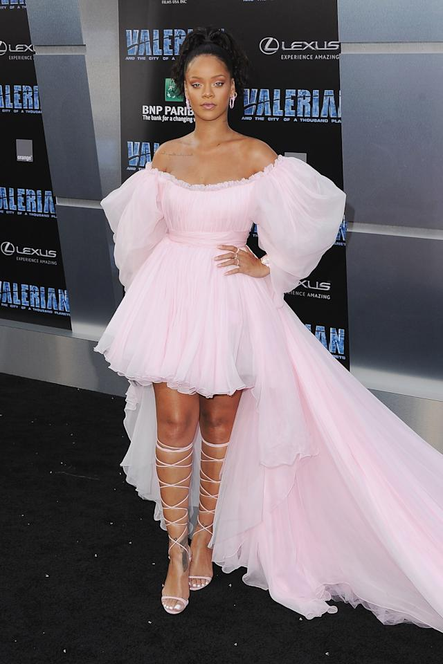 """<p>In a Giambattista Valli Couture dress, custom Manolo Blahnik shoes and Chopard jewelry attending the premiere of """"Valerian And The City Of A Thousand Planets"""" in Los Angeles. </p>"""