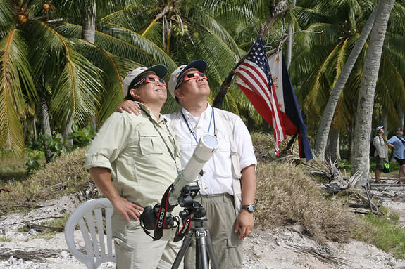 Veteran eclipse chasers Imelda Joson and Edwin Aguirre observed the July 11, 2010, total solar eclipse from Tatakoto, a tiny isolated atoll in French Polynesia's eastern Tuamotu Archipelago about 800 miles (1,200 km) east of Tahiti. Due to str