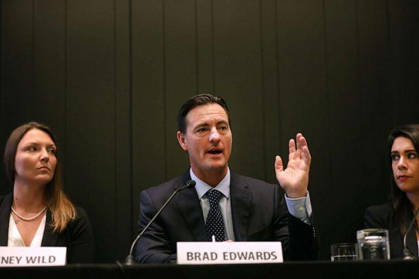 PHOTO: Lawyer Brad Edwards, representing Courtney Wild sitting at left, speaks at a news conference about the Jeffrey Epstein case, July 16, 2019, in New York City. (Spencer Platt/Getty Images, File)