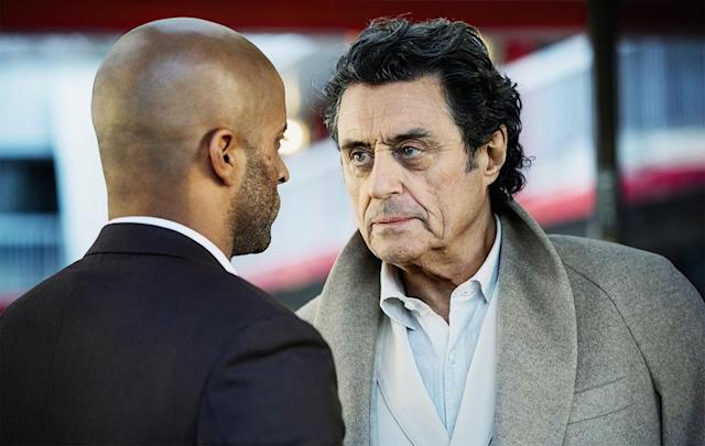 <p>Ricky Whittle as Shadow Moon and Ian McShane as Mr Wednesday in Starz' <i>American Gods</i>.<br><br>(Photo: Starz) </p>