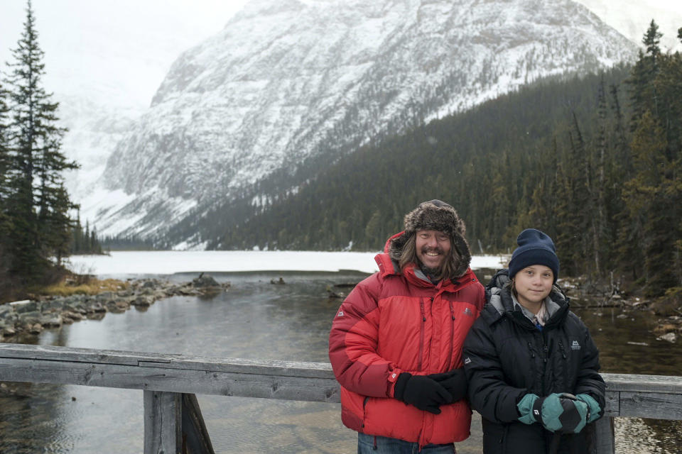 Greta Thunberg and Svante Thunberg in Jasper National Park, Canada. (BBC Studios / PBS)