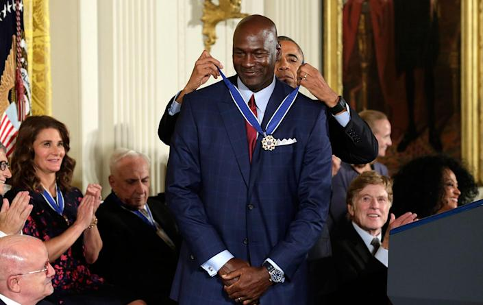 <p>U.S. President Obama awards NBA star Michael Jordan the Presidential Medal of Freedom during a ceremony in the East Room of the White House, Nov. 22, 2016. (Yuri Gripas/Reuters) </p>